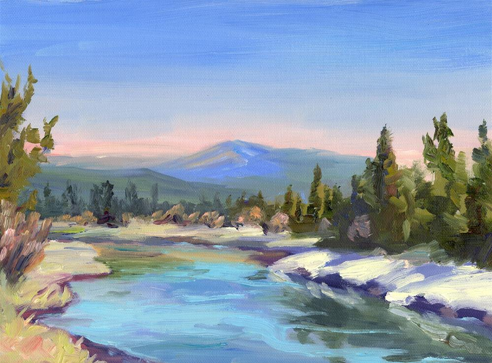"""DESCHUTES BLUE SKY"" original fine art by Karen E Lewis"