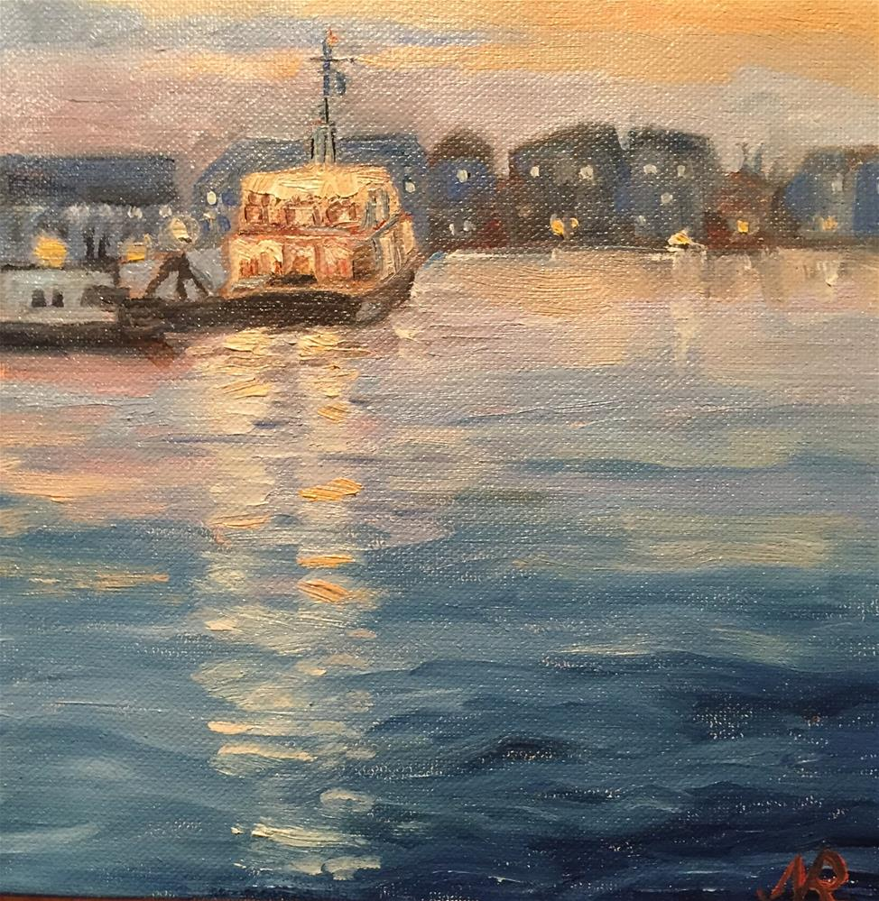 """Night ferry"" original fine art by Natasha Ramras"