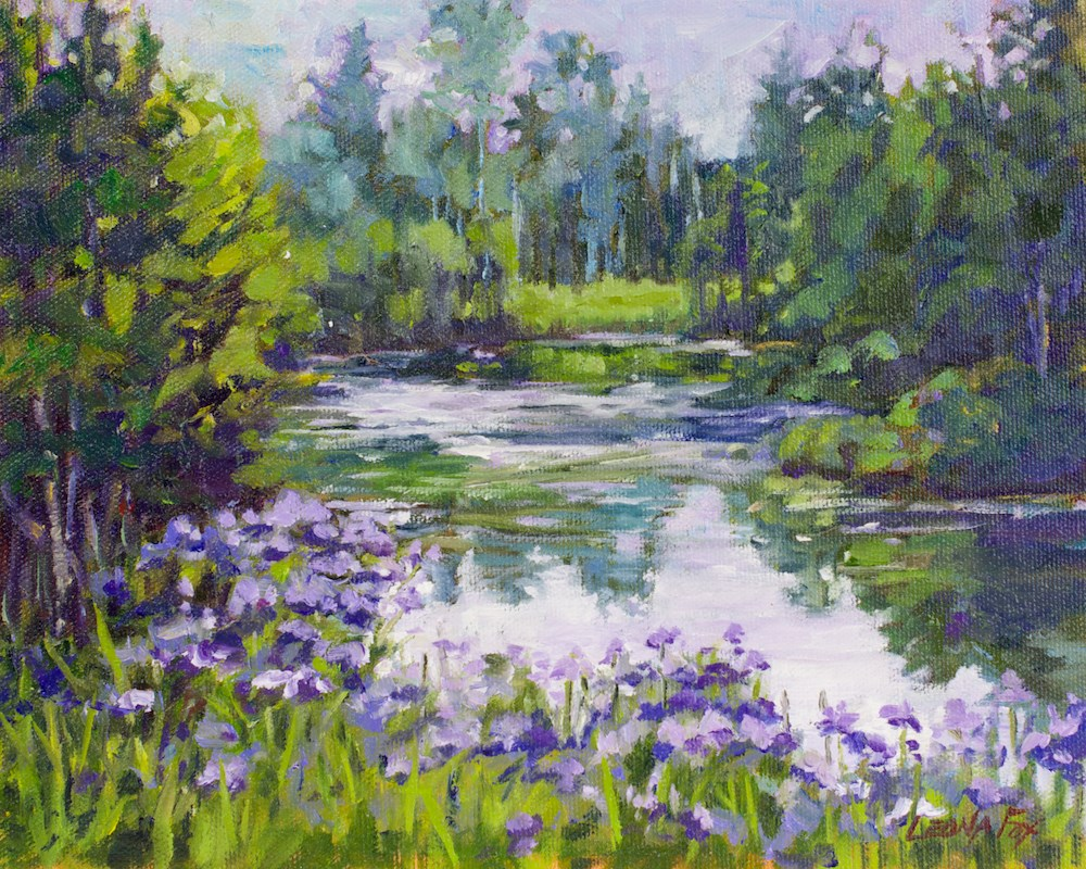 """Wild Iris Pond"" original fine art by Leona Fox"
