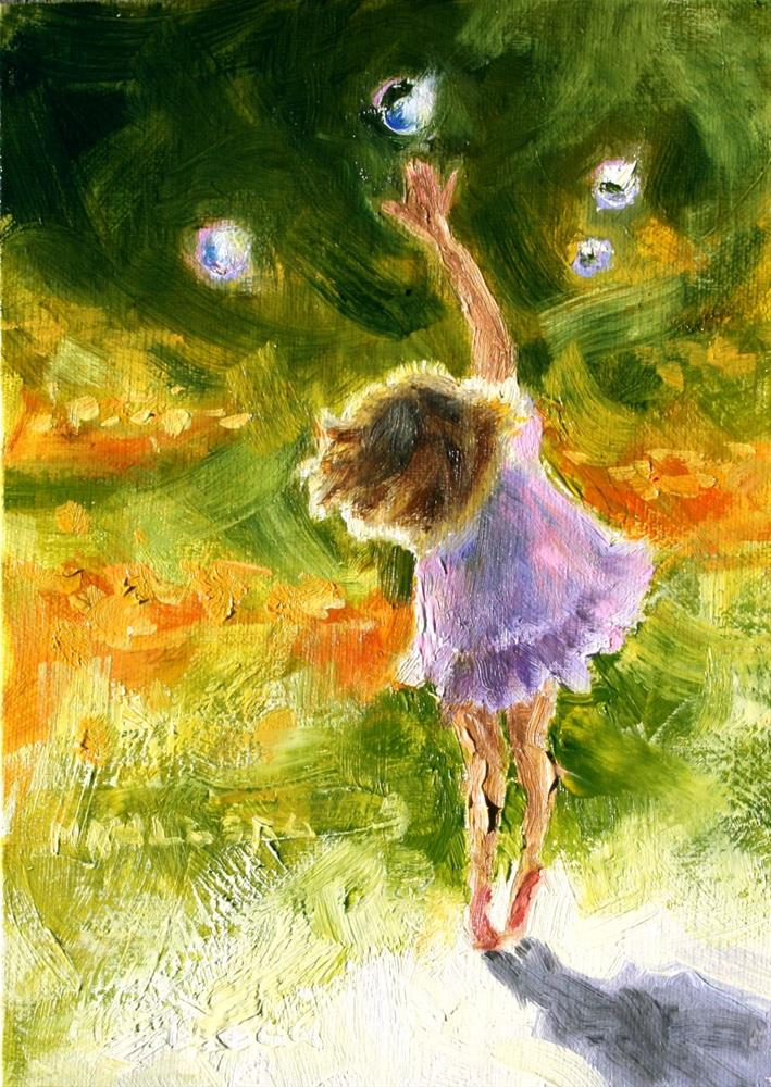 """Girl With Bubbles"" original fine art by Cynthia Mahlberg"