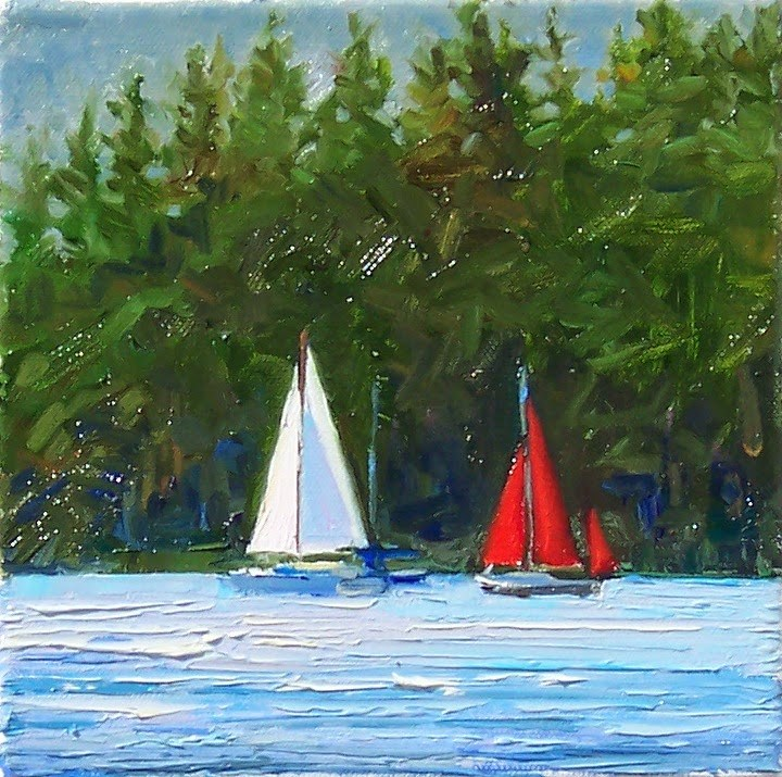 """Sunny Sailing,seascape,oil on canvas,8x8,price$300"" original fine art by Joy Olney"