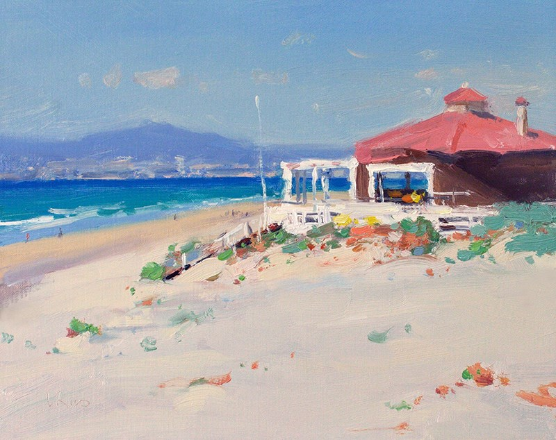 """Perfect Winter Day on the Fonte da Telha Beach"" original fine art by Lena  Rivo"