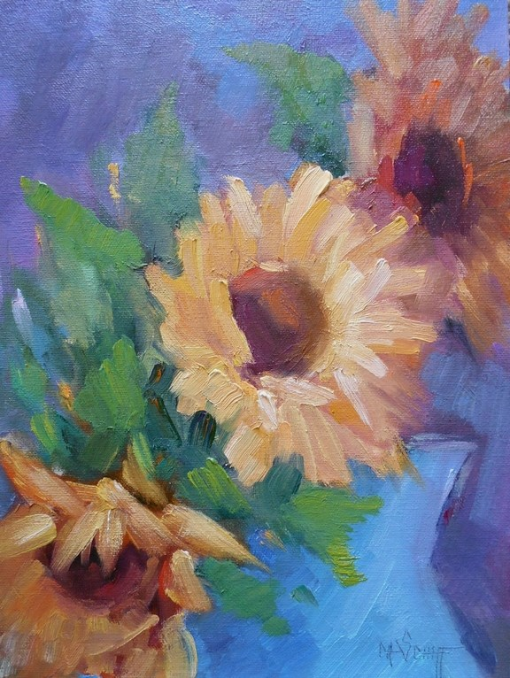 """Sunflower Oil Painting, Daily Painting Small Oil Painting, 9x12 Oil"" original fine art by Carol Schiff"