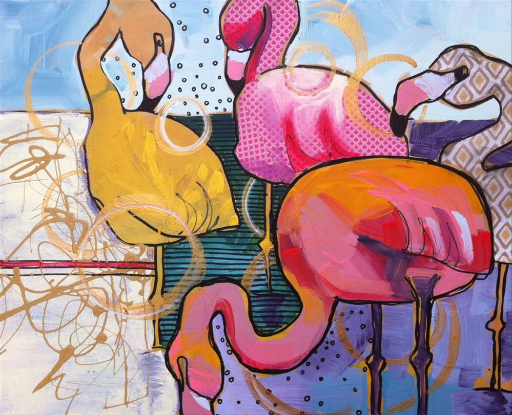 """Flamingo Flirting"" original fine art by Teddi Parker"