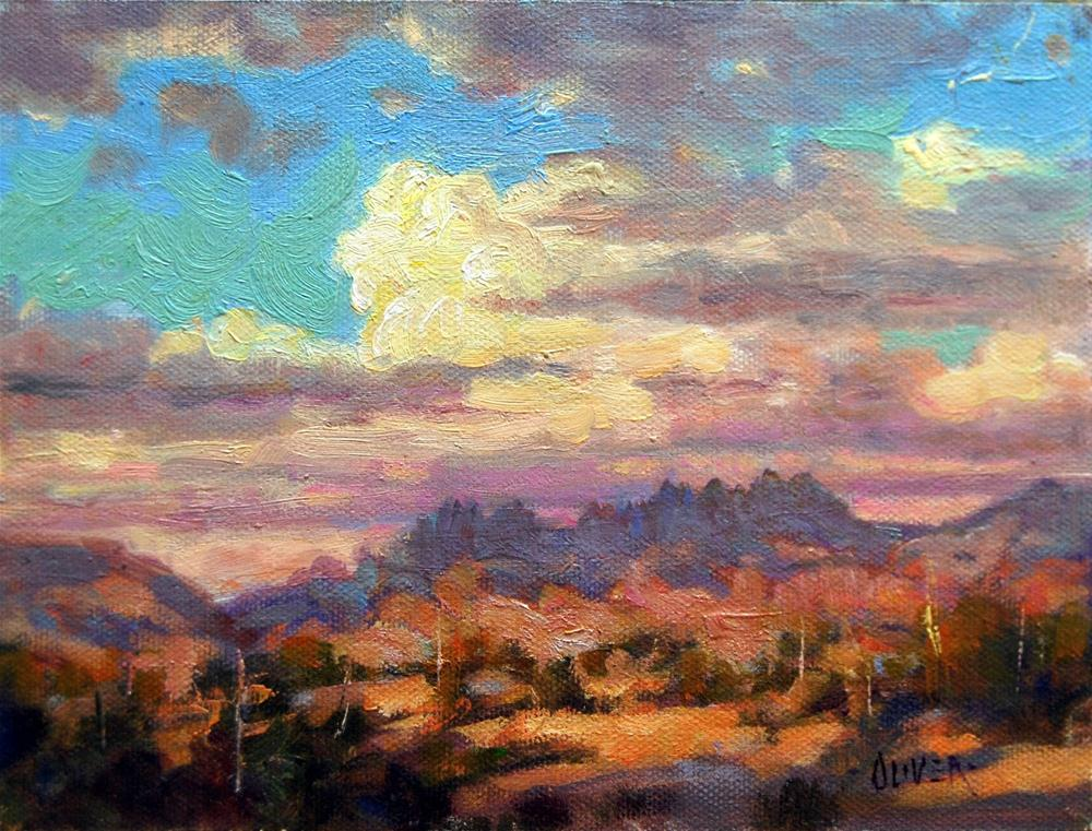"""Cloudy Skies over the Organ Mountain, N.M."" original fine art by Julie Ford Oliver"