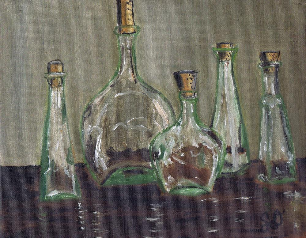 """Glass Bottles on a Wooden Table"" original fine art by Samara Doumnande"