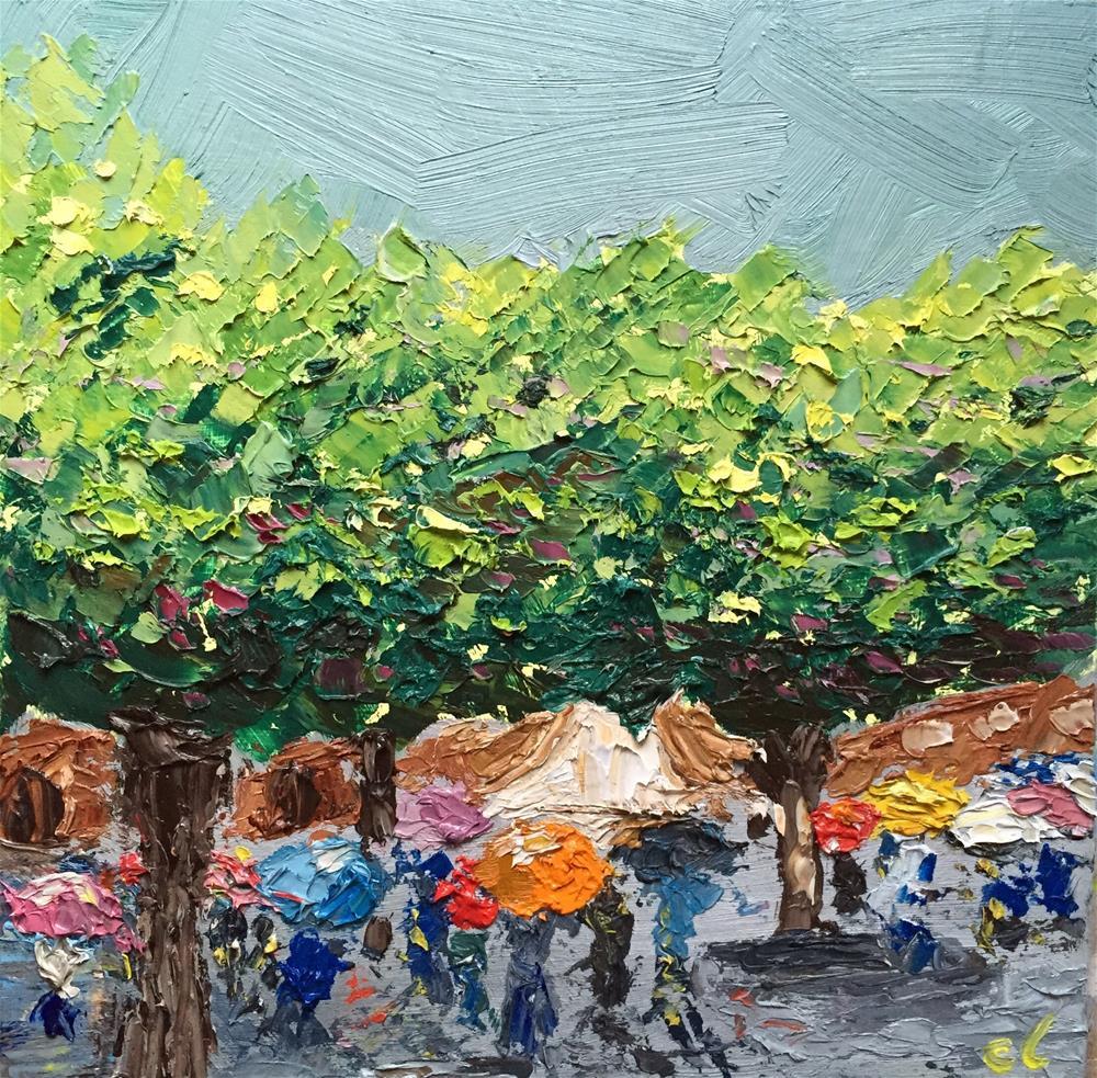 """Rainy Frankfurt Tour"" original fine art by Cheree Apalona Lueck"