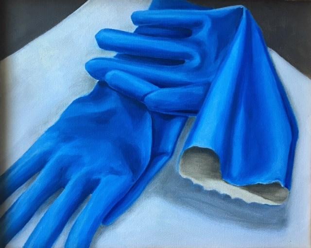 """""""Blue Gloves"""" original fine art by Karen Collins"""