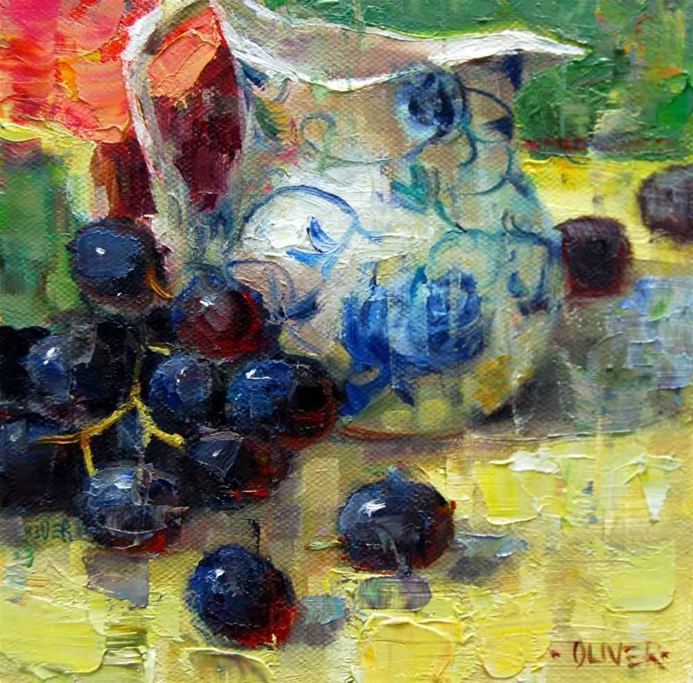 """Grapes and Pitcher"" original fine art by Julie Ford Oliver"