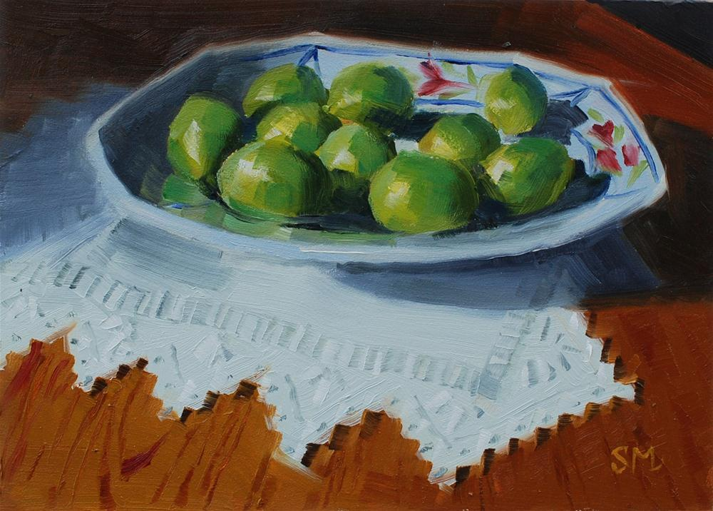 """Quimper Platter with Limes"" original fine art by Susan McManamen"