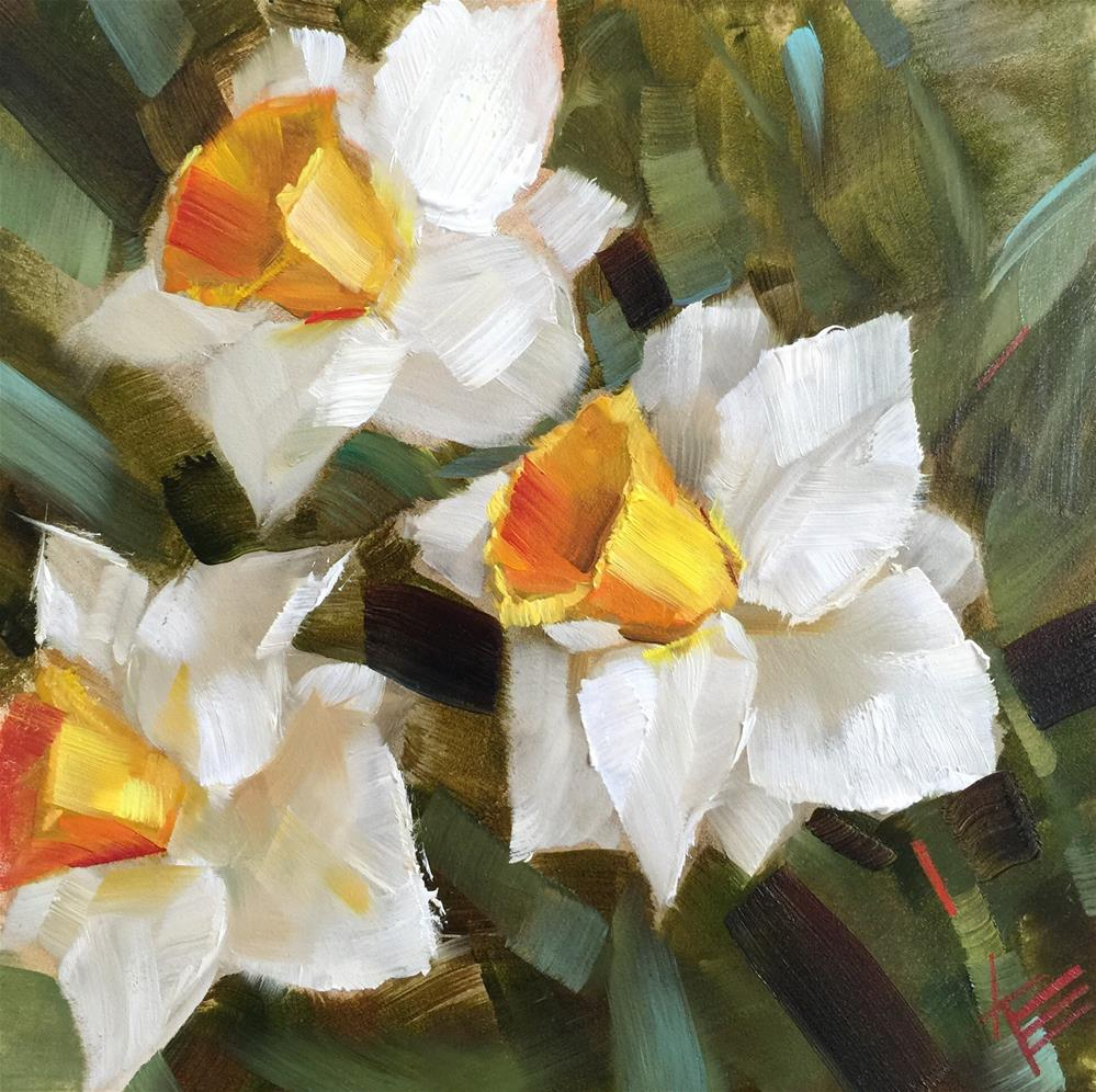"""White Daffodils"" original fine art by Krista Eaton"
