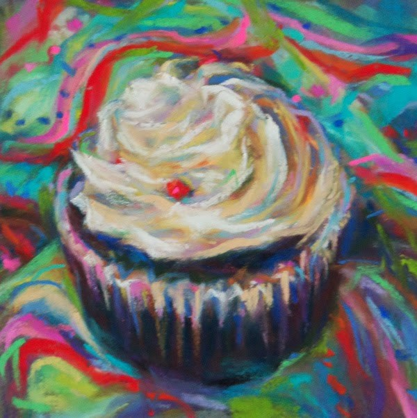 """IT'S A PARTY! - 4 1/2 x 4 1/2 cupcake pastel by Susan Roden"" original fine art by Susan Roden"