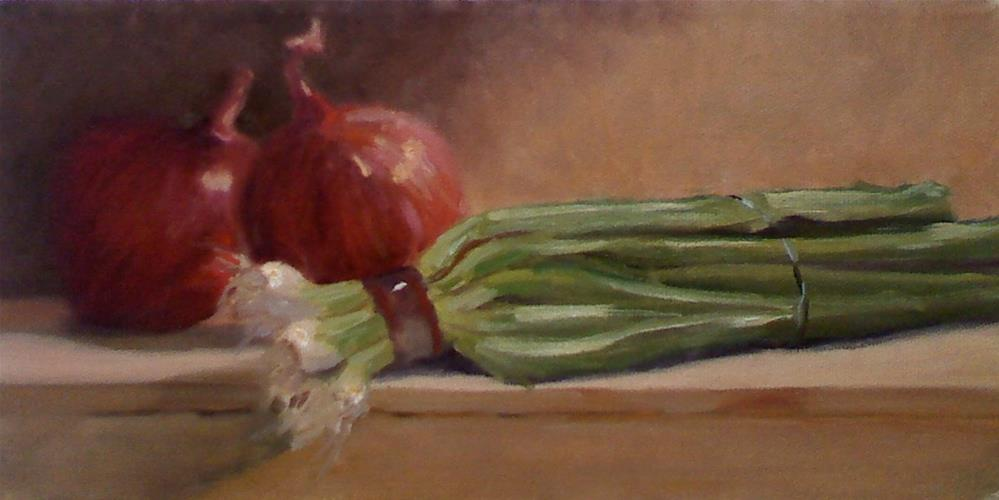 """Red and Green Onions"" original fine art by Judith Anderson"