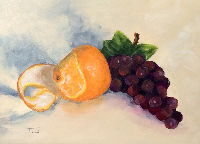 """Orange and Grapes"" original fine art by Torrie Smiley"