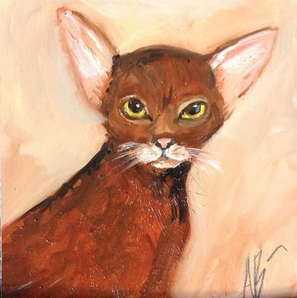 """Sleek brown cat"" original fine art by Annette Balesteri"