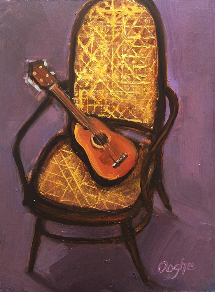 """Ukuklele on Cane Chair"" original fine art by Angela Ooghe"