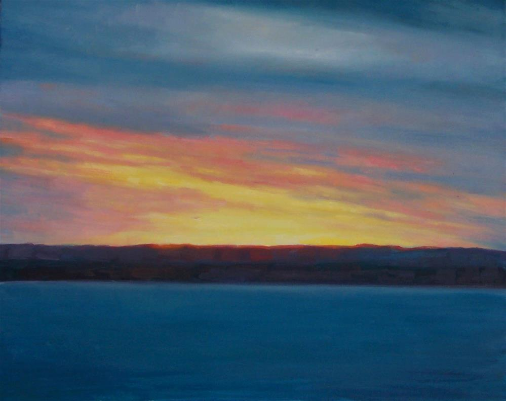 """Summer Sunset over Bay,seascape,oil on canvas,16x20,price$400"" original fine art by Joy Olney"