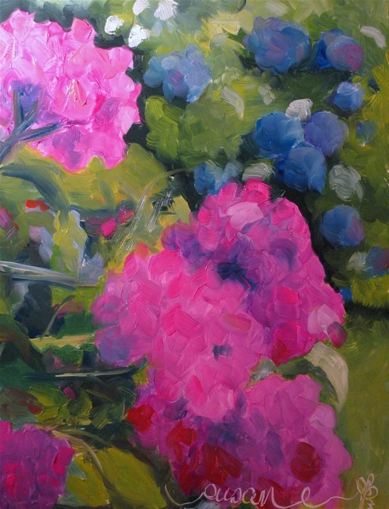 """Hydrangea beyond the Geraniums"" original fine art by Susan Elizabeth Jones"
