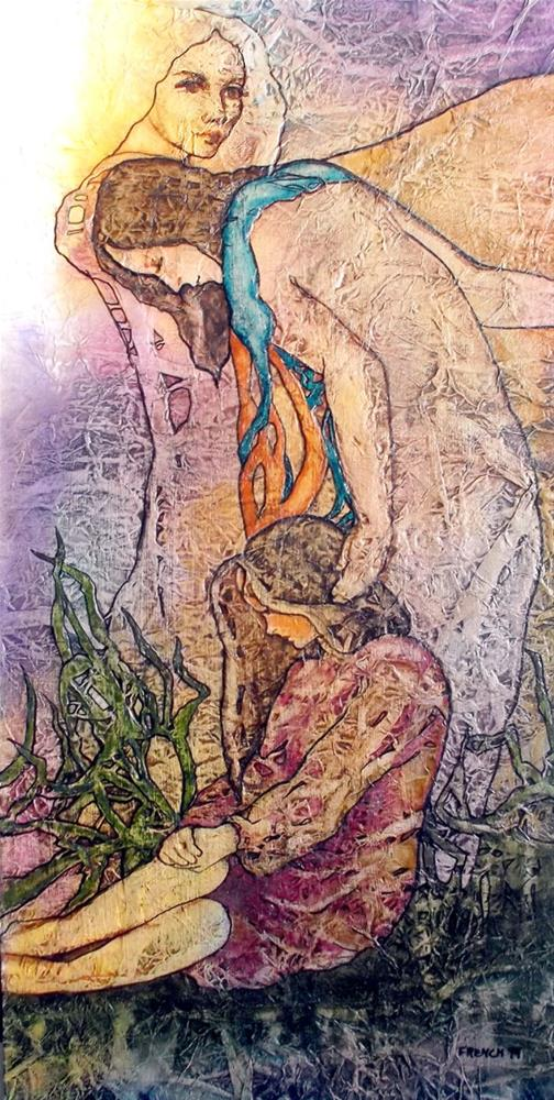 """Zen Inspired Mother Sister Daughter Watercolor on Tissue"" original fine art by lynne french"