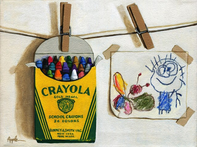 """Box of Crayons and Children's Drawing original realistic still life"" original fine art by Linda Apple"