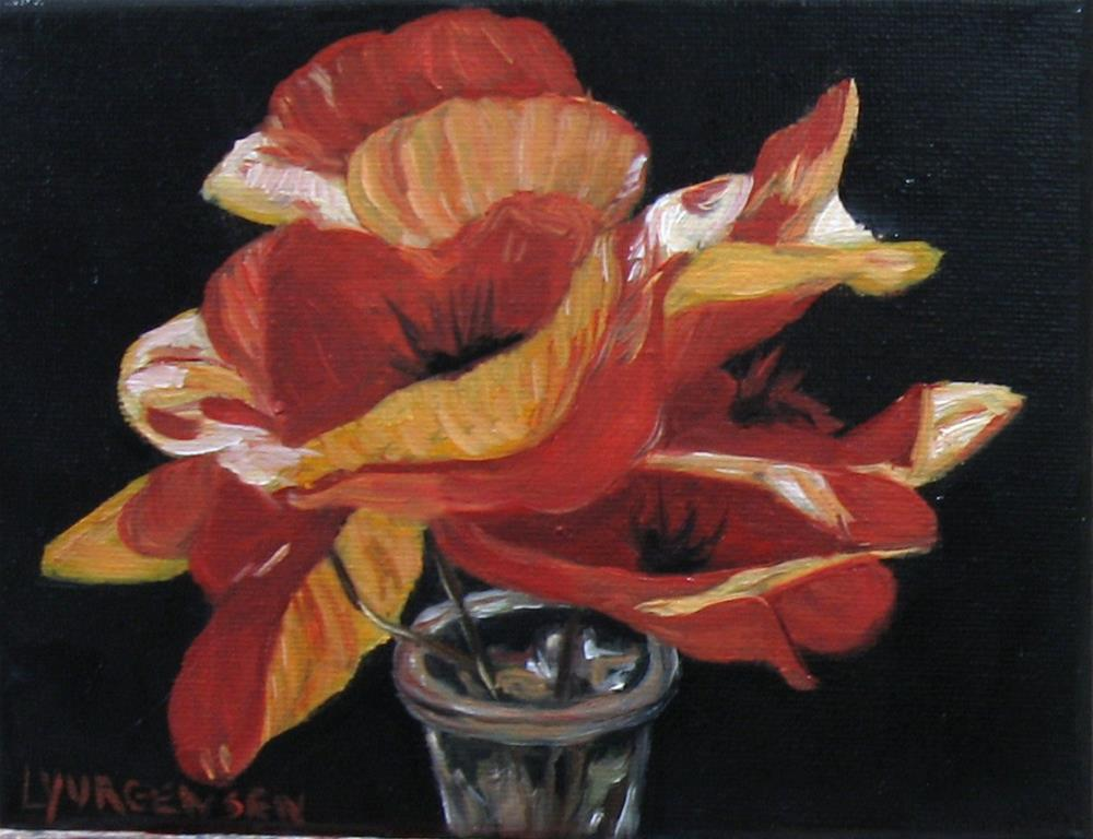 """8 x 6 inch oil poppies in bottle"" original fine art by Linda Yurgensen"