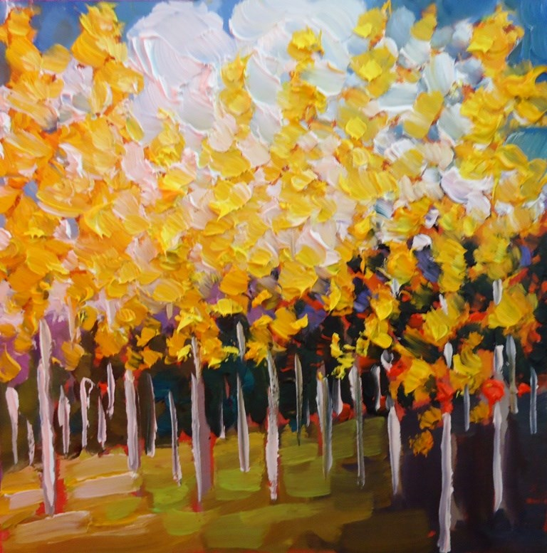 """123 SUMMER ASPENS"" original fine art by Dee Sanchez"