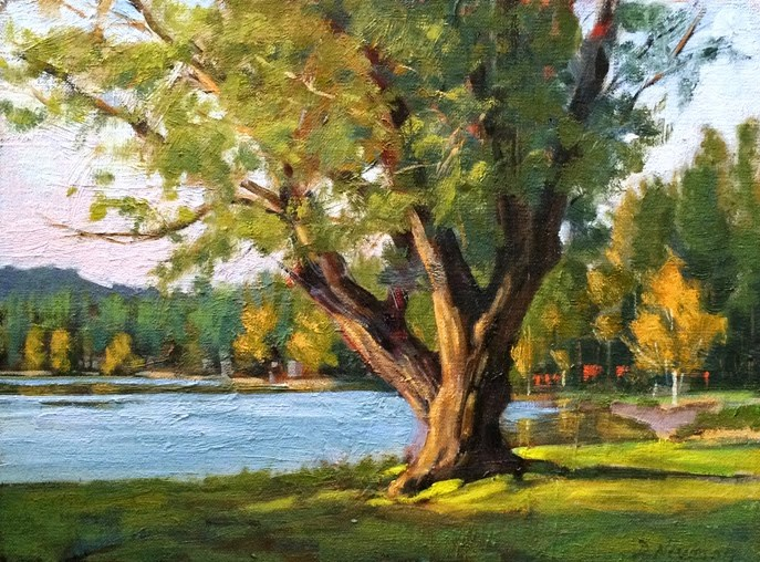 """Tree on the Lake"" original fine art by Deborah Newman"