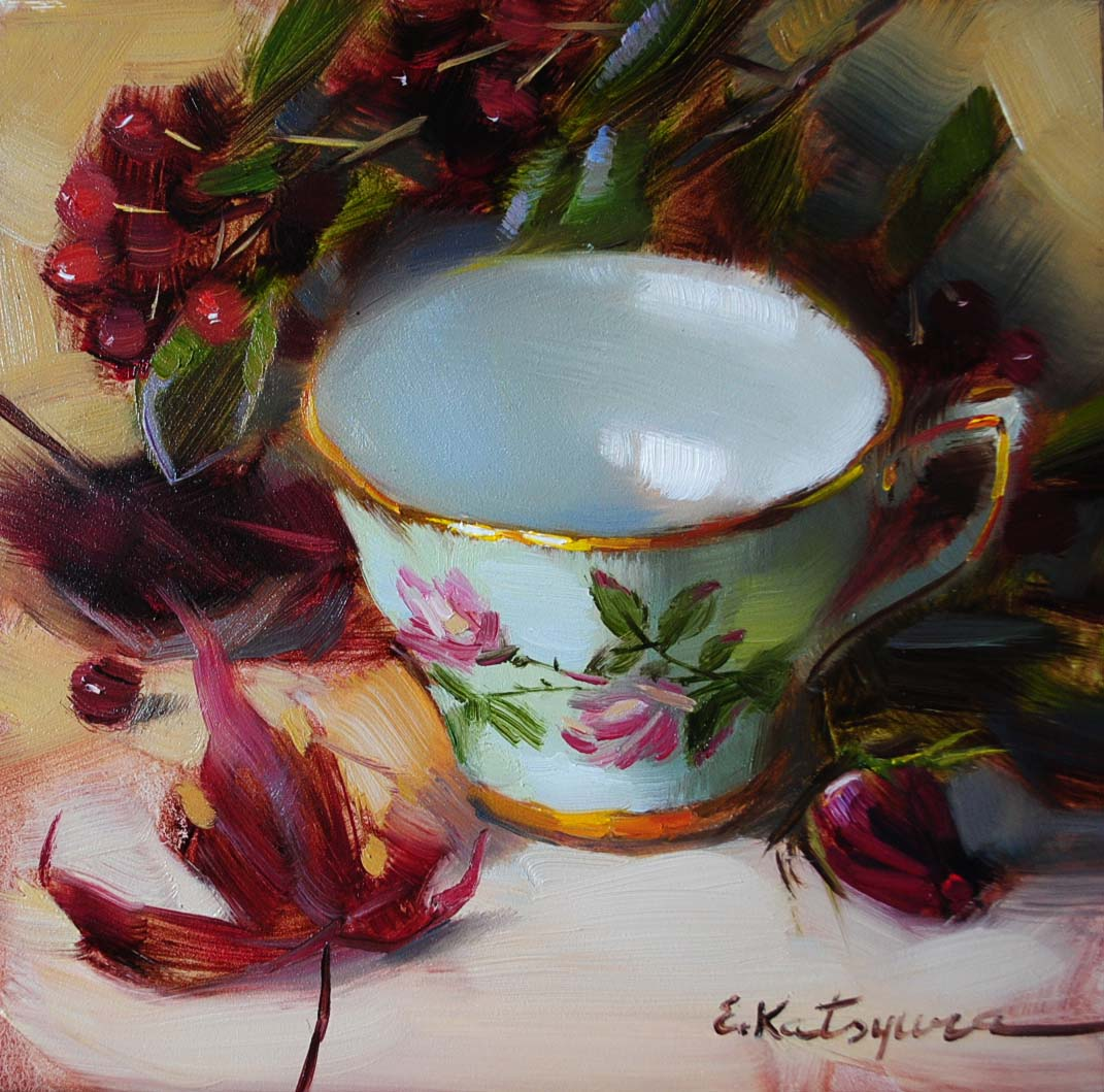 """Teacup and Dry Leaves"" original fine art by Elena Katsyura"