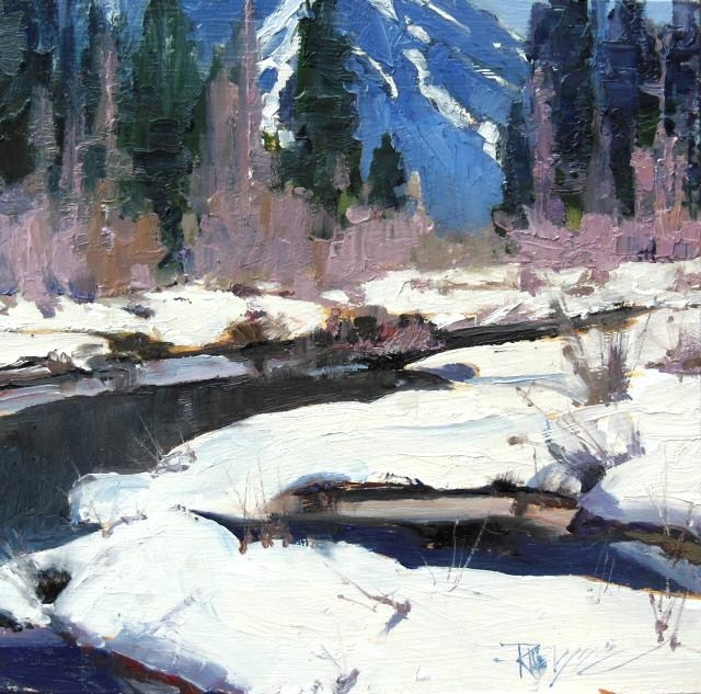 """Gold Creek in Snow  Snoqualmie Summit, plein air , landscape painting by Robin Weiss"" original fine art by Robin Weiss"
