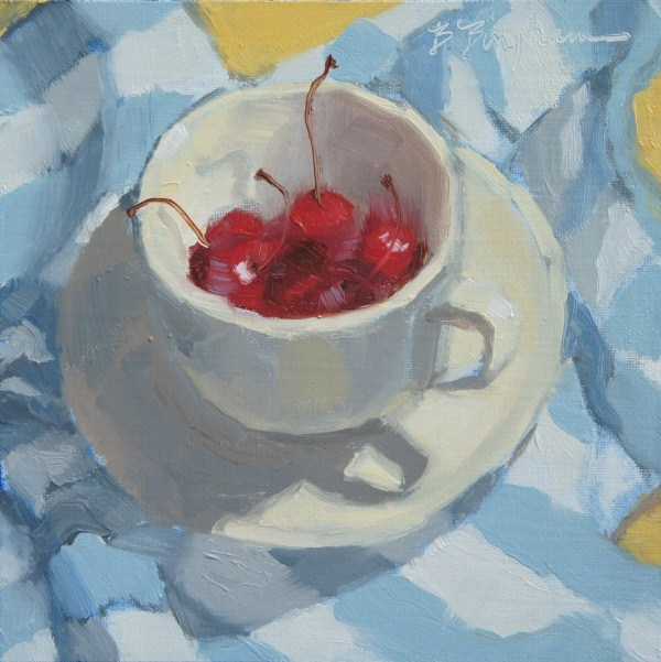 """Striped Cherry Cup"" original fine art by Bruce Bingham"
