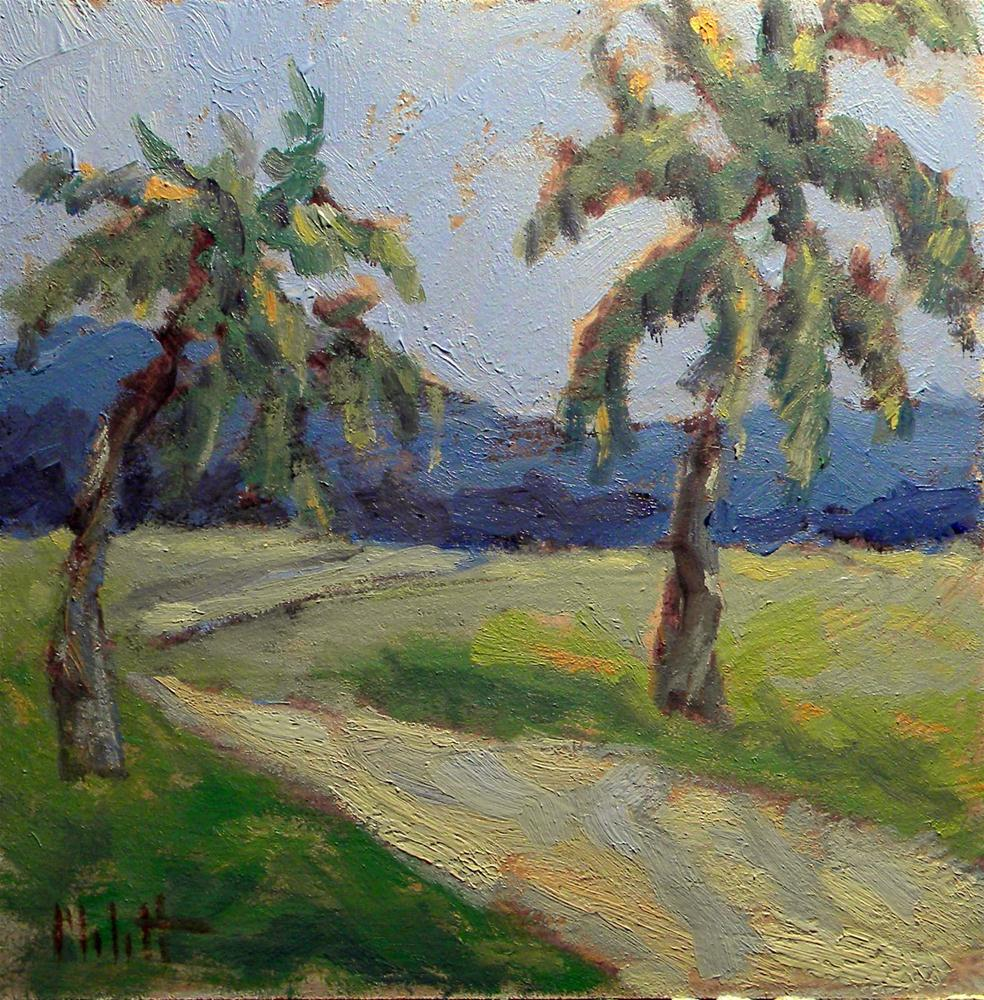 Island Hike Palm Trees Daily Painting Landscape original fine art by Heidi Malott