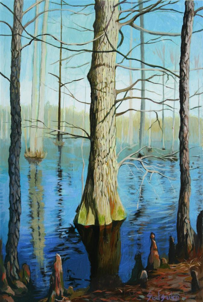 """""""Standing cypress"""" original fine art by Setsuko Lawson"""