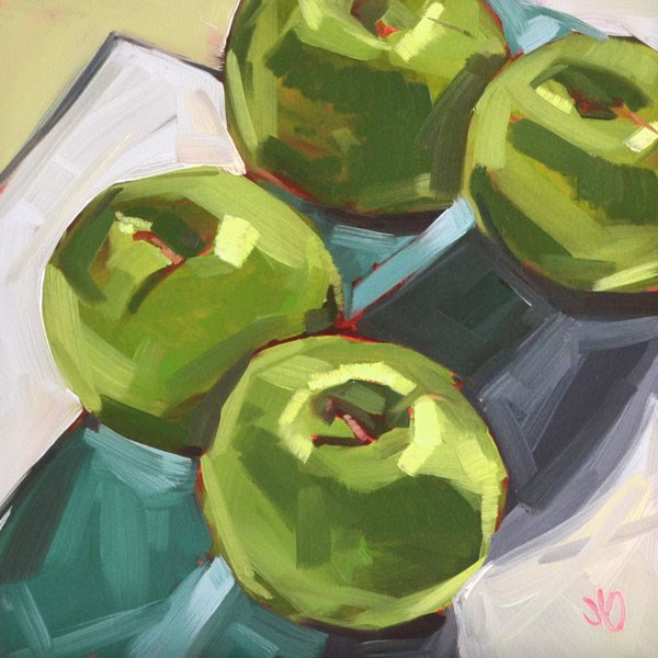 """Green apples"" original fine art by Jessica Green"