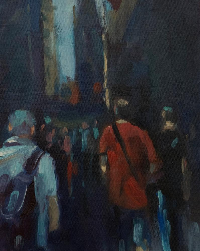 """Crowds in NYC"" original fine art by Andre Pallat"