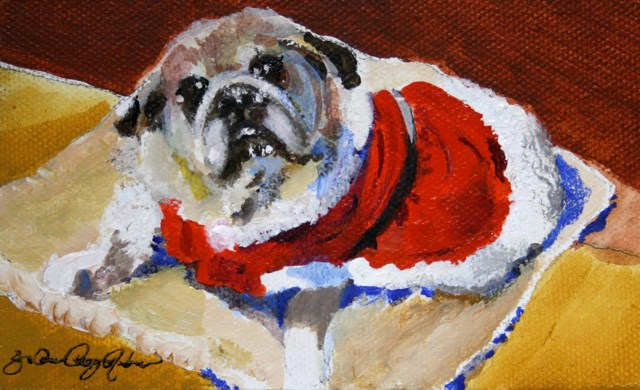 """Holiday Pug"" original fine art by JoAnne Perez Robinson"