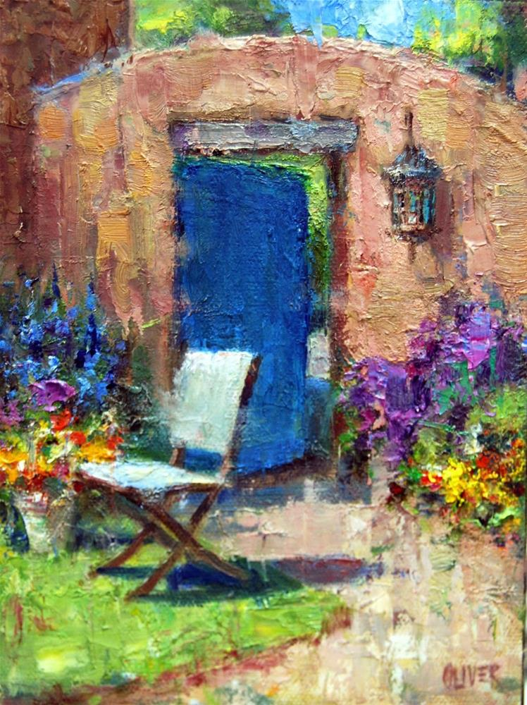 """Doorway Out Of The Garden - plus white as a  value"" original fine art by Julie Ford Oliver"