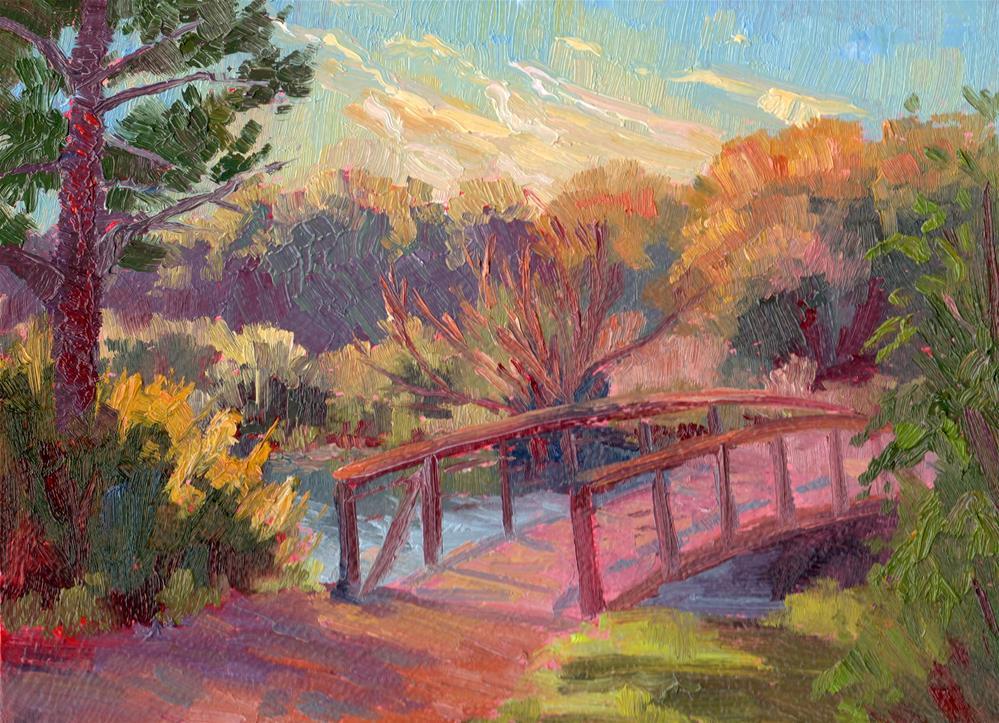 """Footbridge Over Beaver Pond"" original fine art by Karen E Lewis"