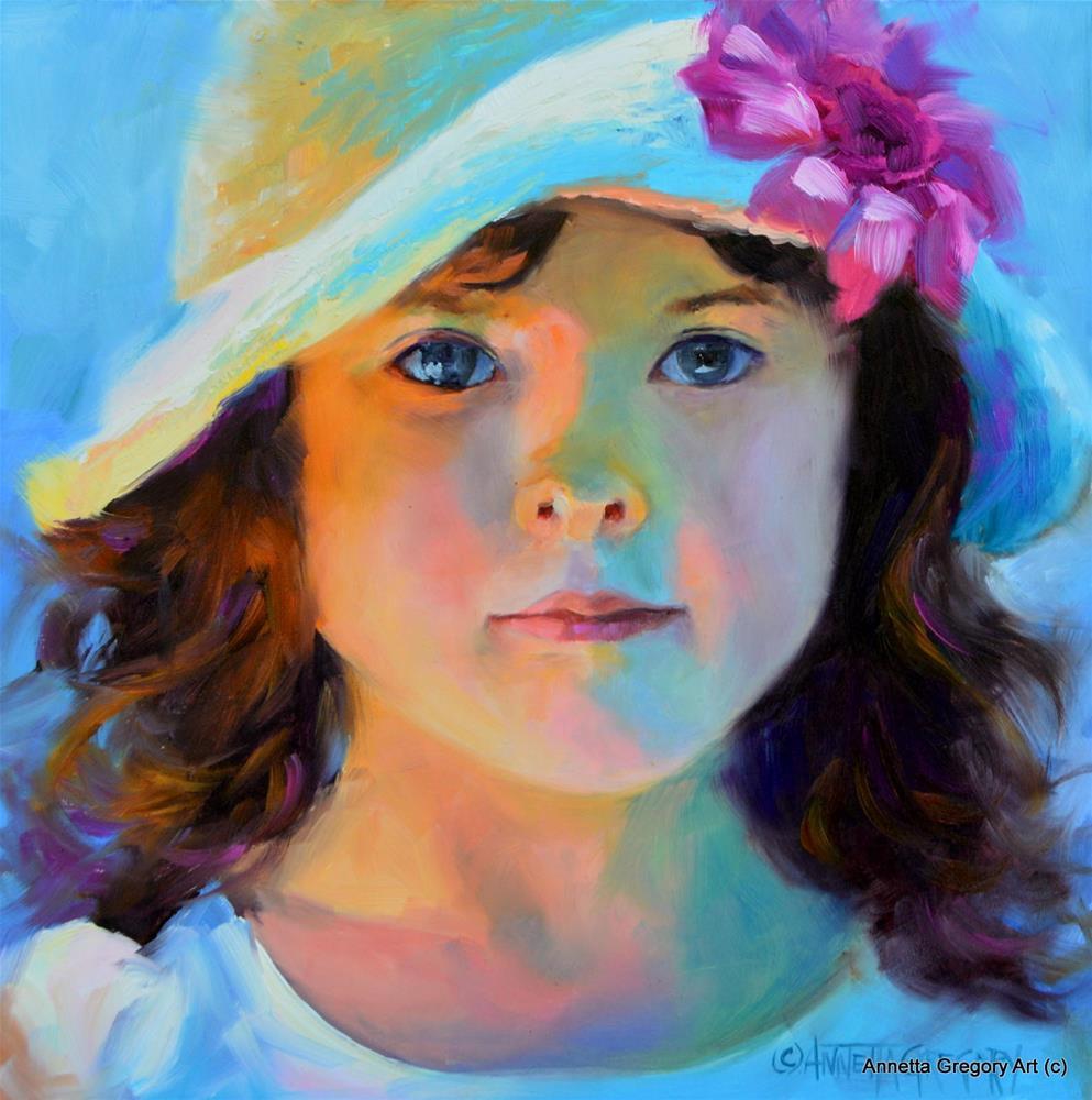 """""""Girl in Hat"""" original fine art by Annetta Gregory"""