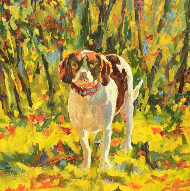 """Ernie- This is a 12x12 commissioned painting. request a commission through email."" original fine art by Mary Sheehan Winn"
