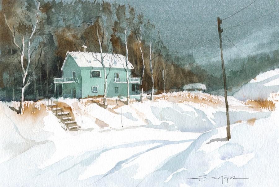 """""""snowy 19"""" original fine art by Emilio López"""