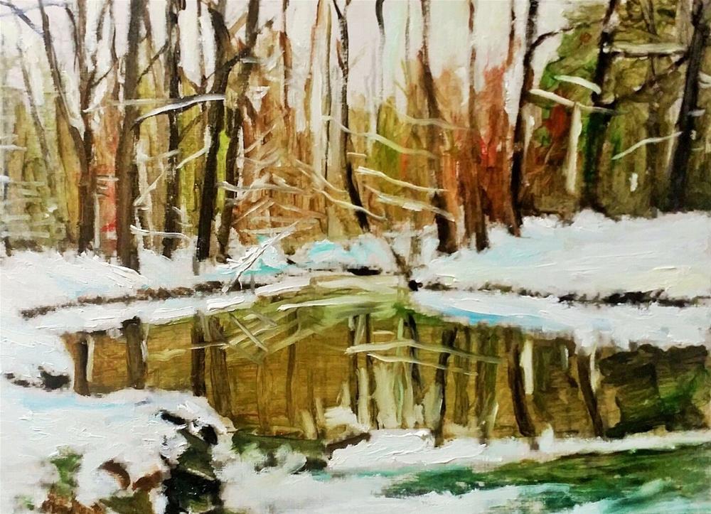 """""""The Snowy River (12 x 16 Oil on canvas paper - no frame)"""" original fine art by Ramon DelRosario"""