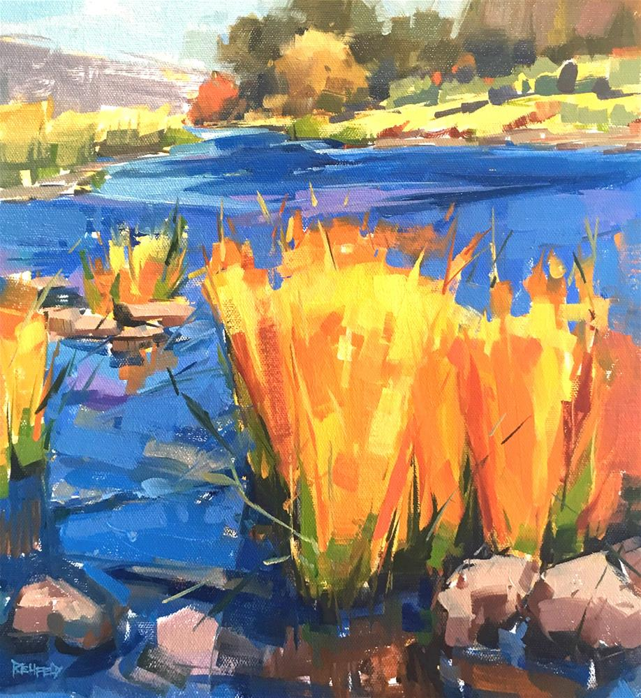 """Deschutes River 12x12"" original fine art by Cathleen Rehfeld"