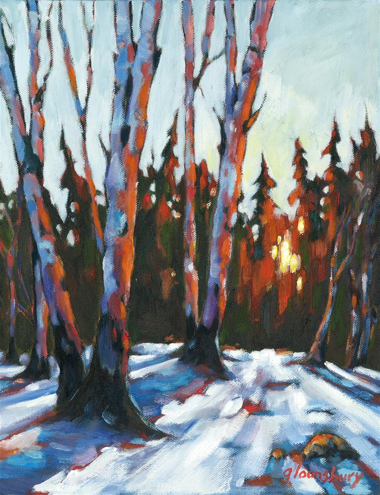 """Winter's Sunset"" original fine art by Grant Lounsbury"