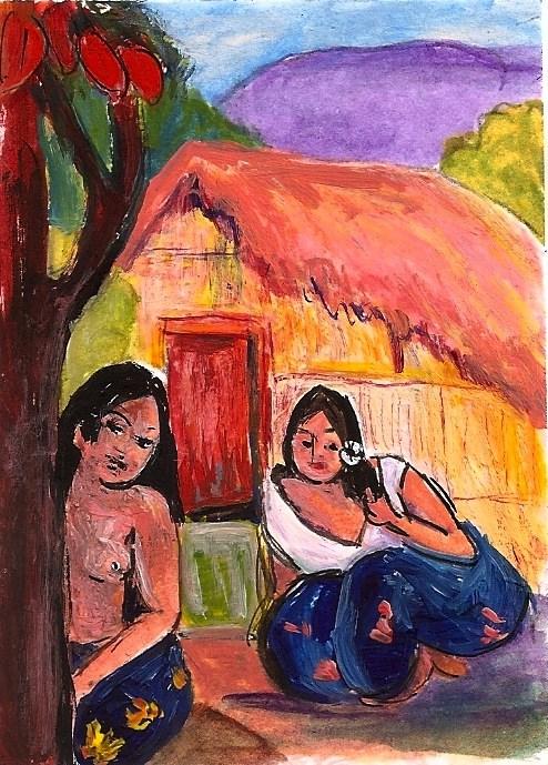 """ACEO Two Women & a Hut in the style of Gauguin Tahiti Penny Lee StewArt"" original fine art by Penny Lee StewArt"