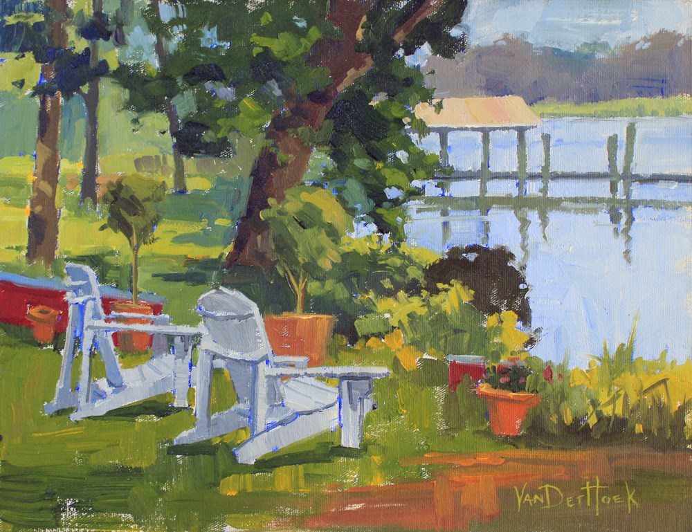 """Have a Seat - Original Oil Painting of Adirondack Chairs - Chair Painting - Easton Plein Air"" original fine art by Kim VanDerHoek"