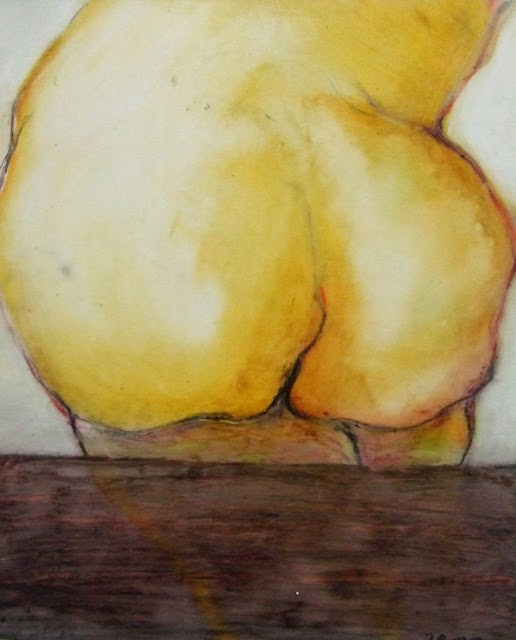 """Oil Pastel: Please, Sit Down"" original fine art by Mitsuru Cope"