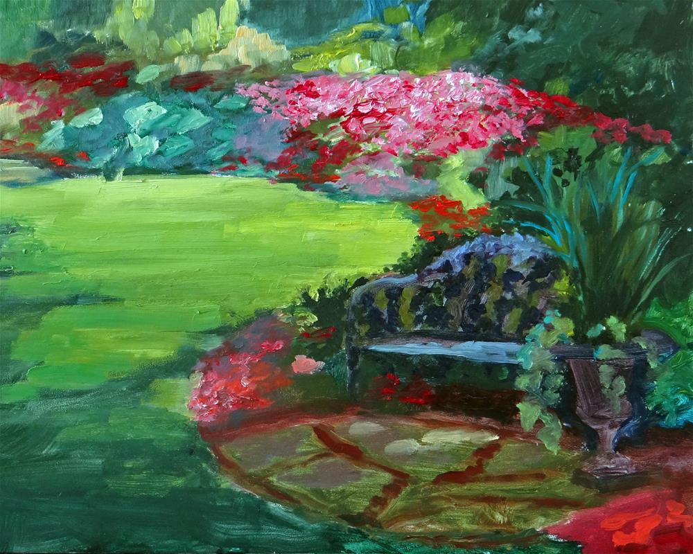 """""""Corner of Bettie's Garden"""" original fine art by Nancy Paris Pruden"""