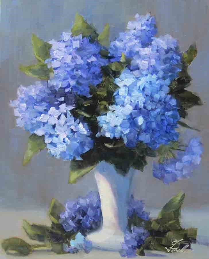 """Hydrangea Light  2016- Painting Flowers in Oil Workshop September 7-9"" original fine art by Pat Fiorello"