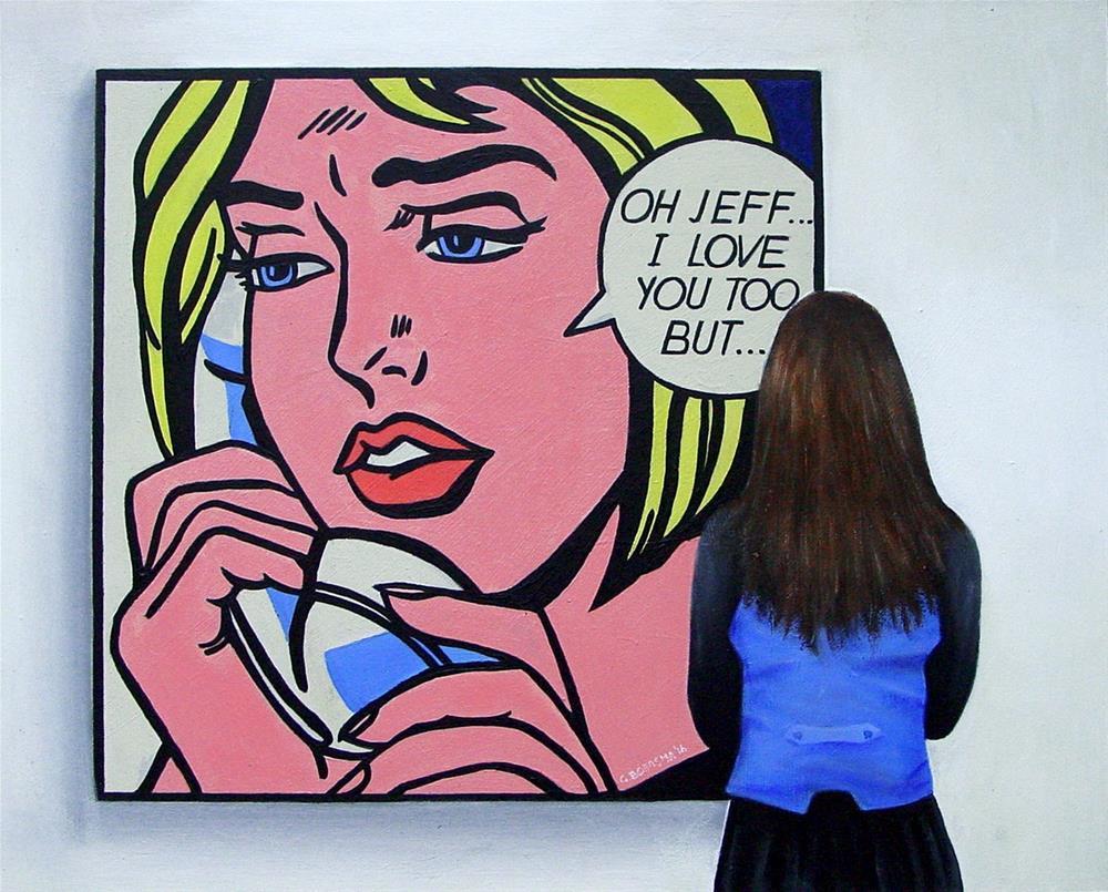 """Oh Jeff- Woman enjoying a painting by pop art artist Roy Lichtenstein"" original fine art by Gerard Boersma"