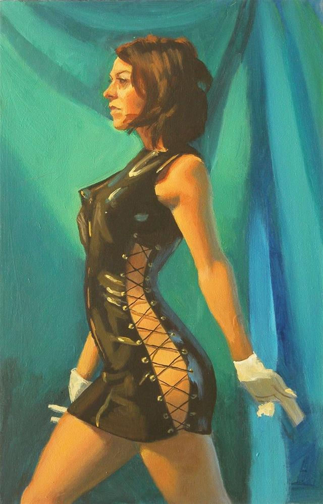 """Plastic dress"" original fine art by Peter Orrock"